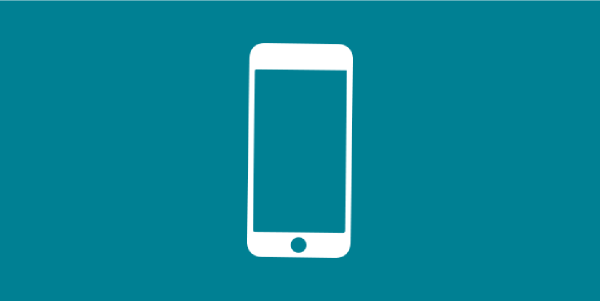 illustrated outline of a white iphone on top of a turquoise background