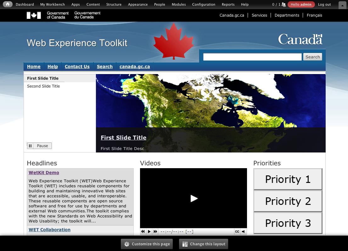 Web Experience Toolkit Distribution Screenshot