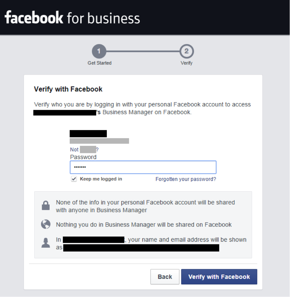 Verify with Facebook
