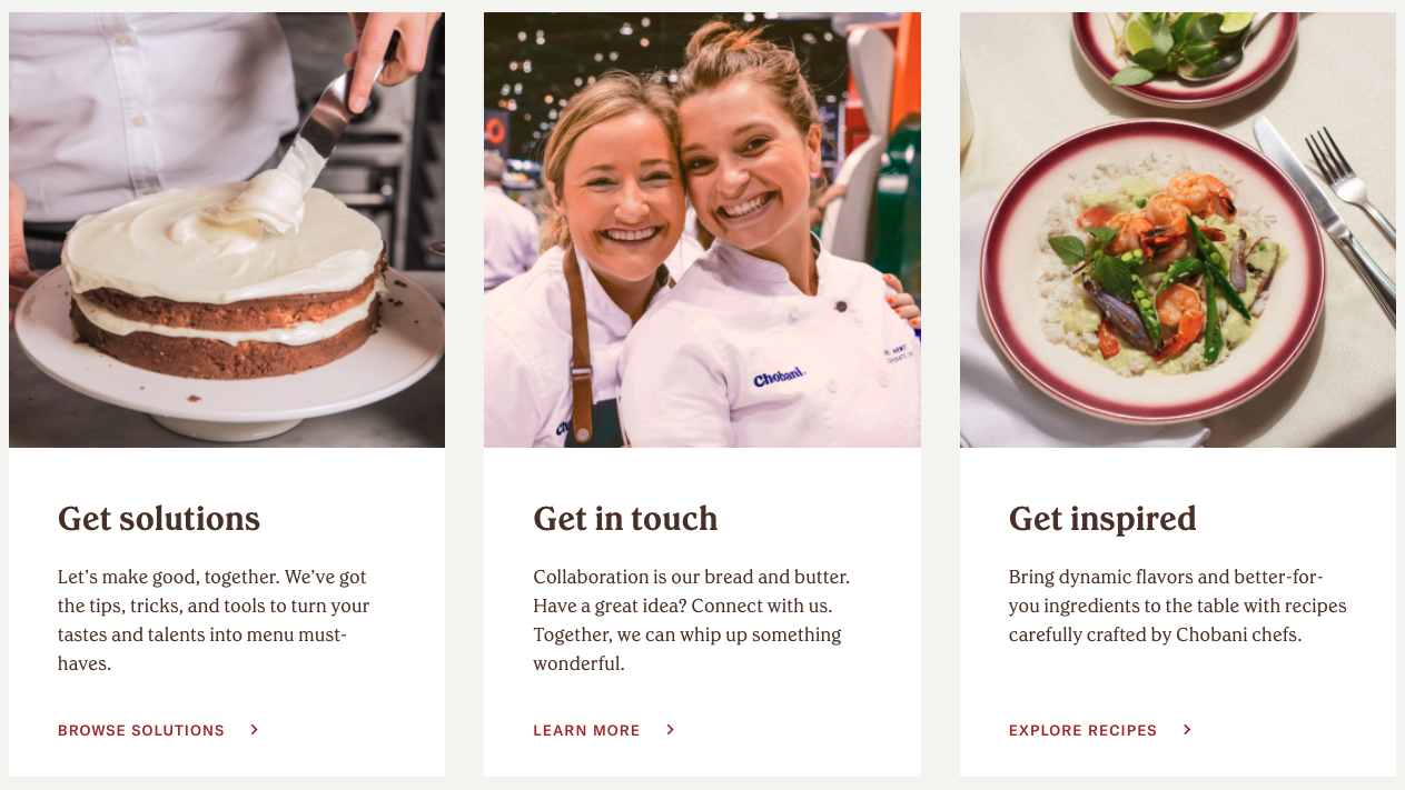 Chobani foodservice homepage call to action section