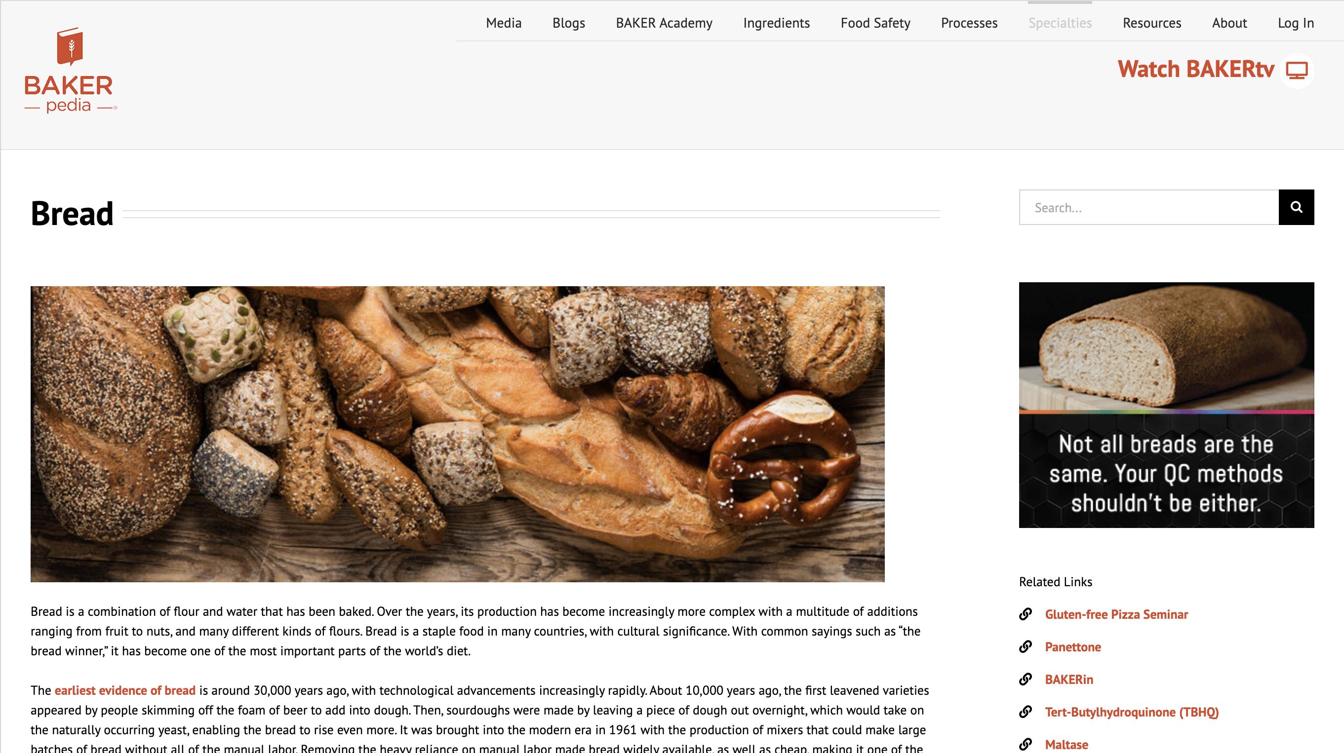 Bakerpedia bread specialty page