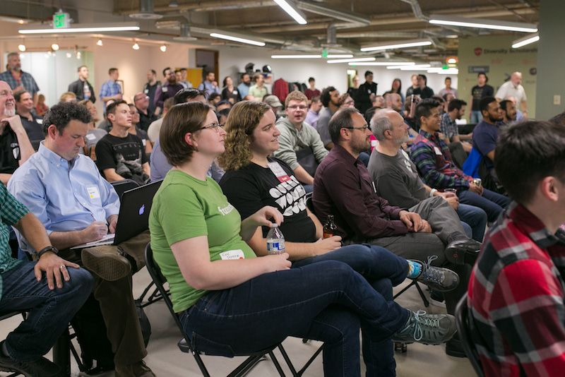 audience at Code Fellows Demos and Drinks event