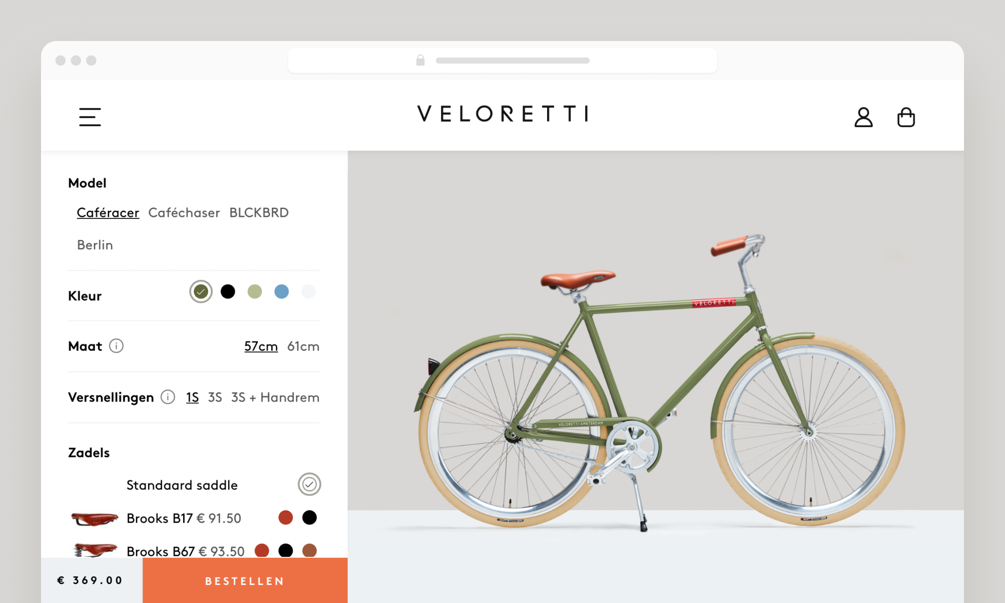 Example of a page where you can buy Veloretti's bicycle online