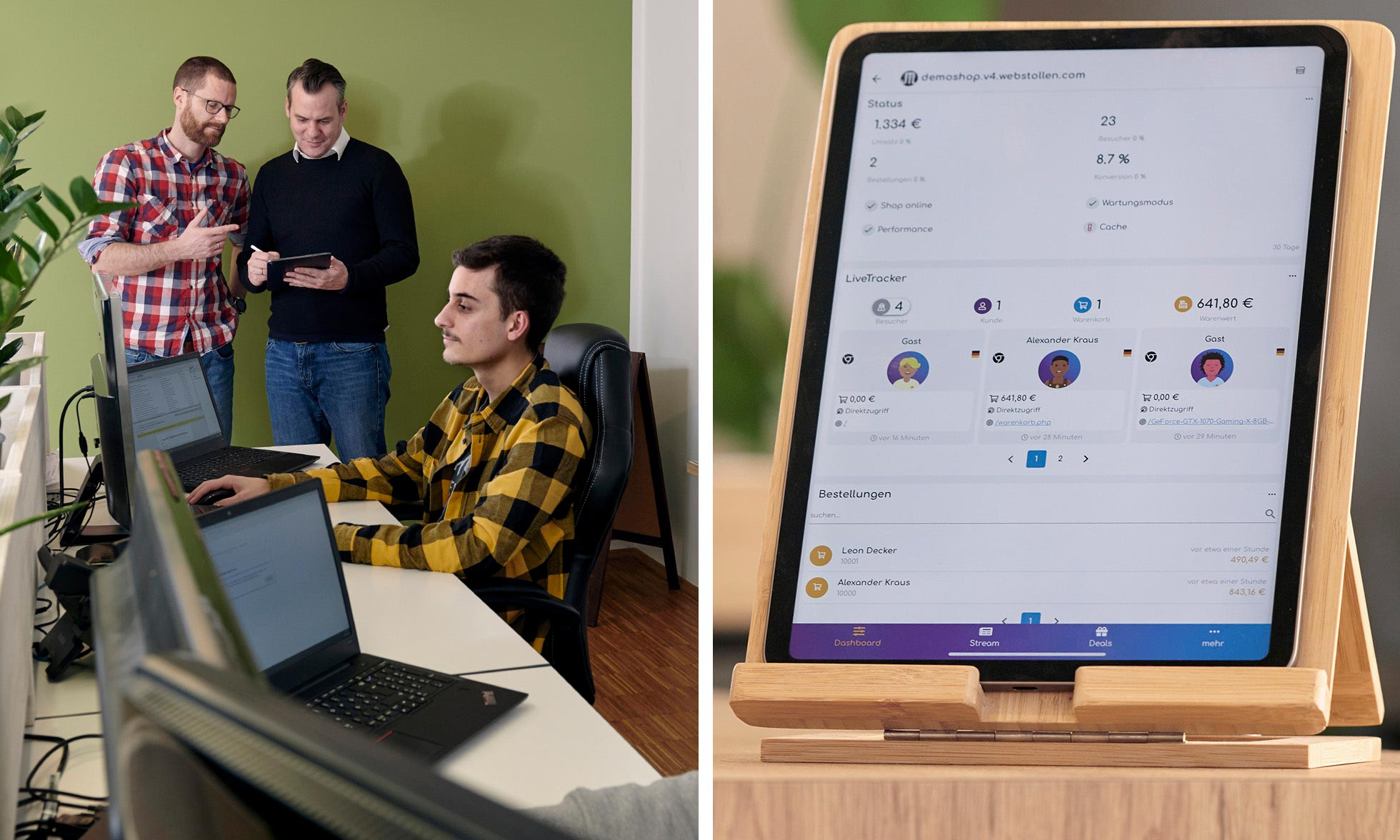 The founders holding an iPad in the background (left picture). The dash.bar app running on an iPad that is sitting vertically on a wooden table(right picture).