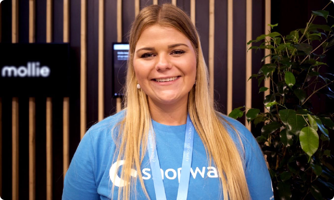 Shopware's Lena Dietrich smiles for the camera at DMEXCO 2019