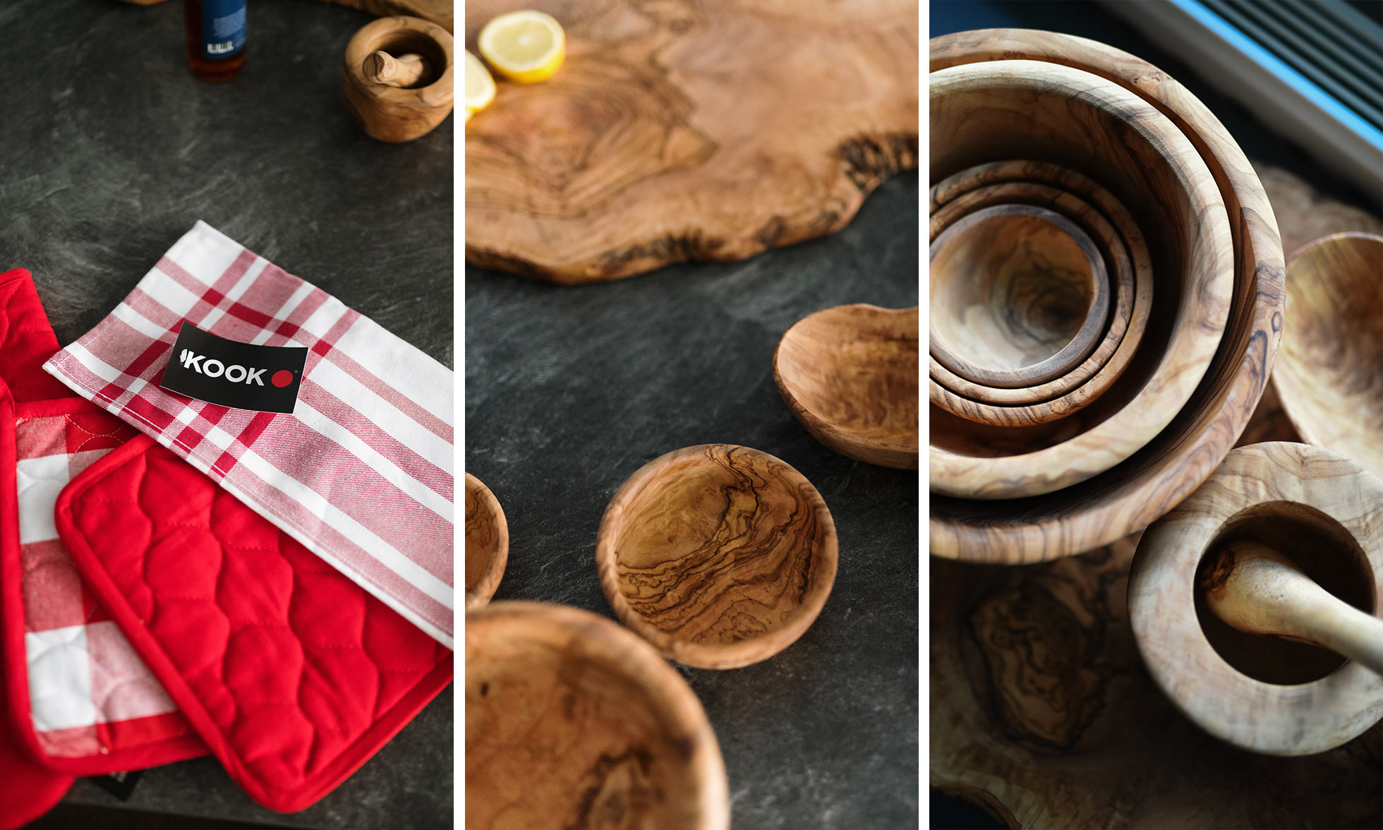 Left: red and white pot holders. Centre: wooden cutting board and bowls. Right: stacked wooden bowls.