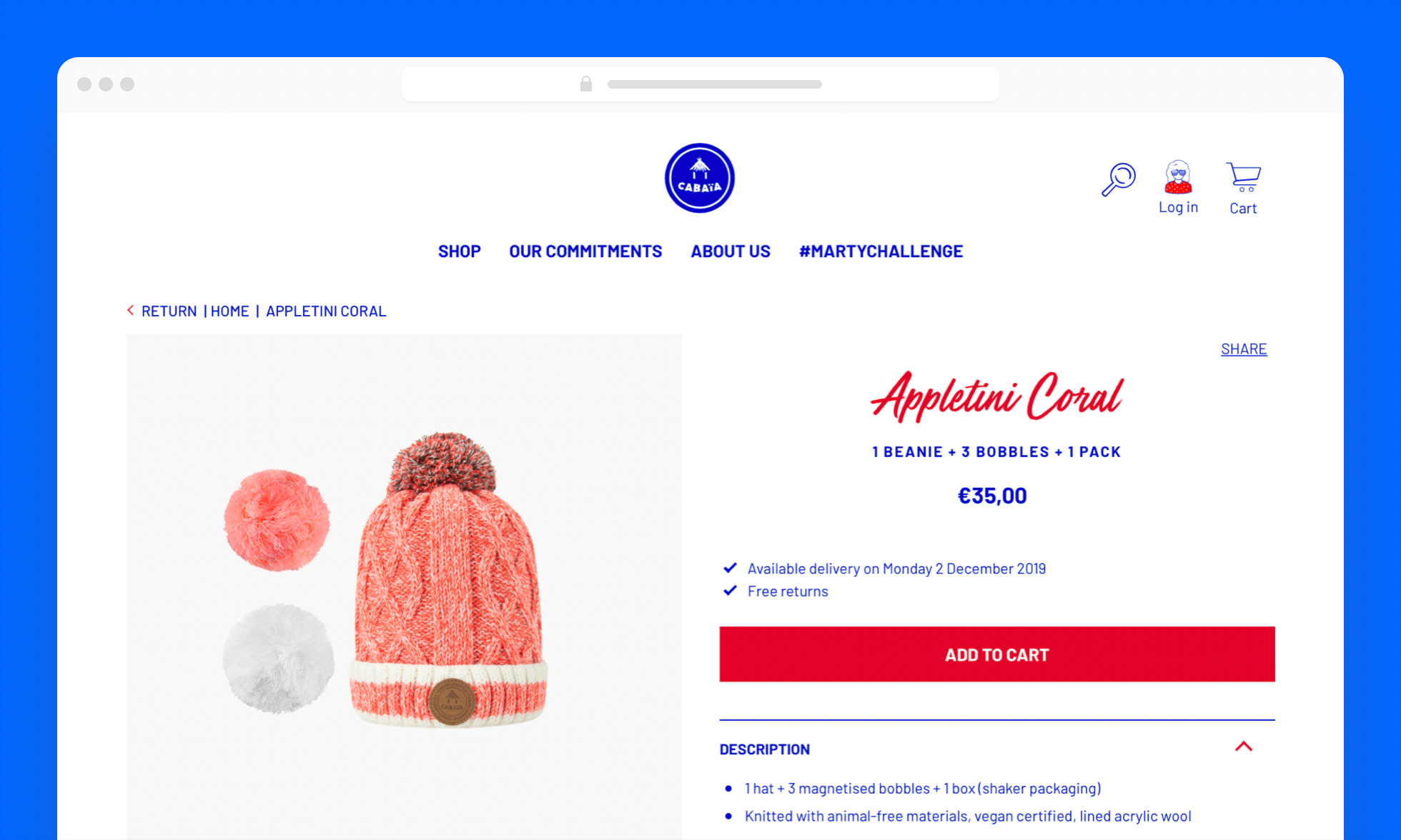 Cap productfiche op de internationale website Cabaïa, gefaciliteerd door Mollie Payments