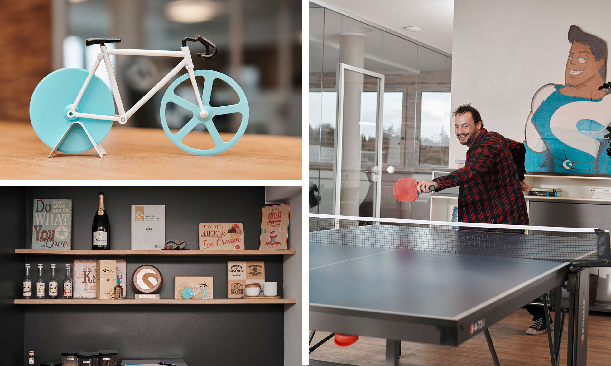A young man plays table tennis in the dasistweb office (picture on the left). Different impressions of the dasistweb office in Holzkirchen near München. (right).