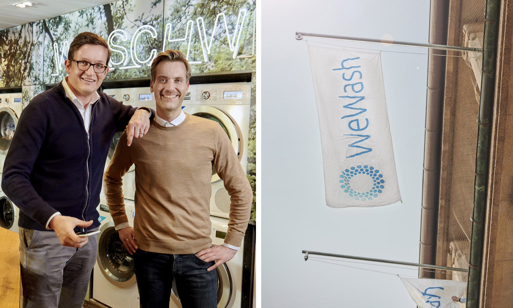 Right: WeWash Founders Dr. Rafael Kirschner and Philip Laukart standing in front of washing machines in the Das Reserl student residence. Left: The WeWash banner at headquarters.