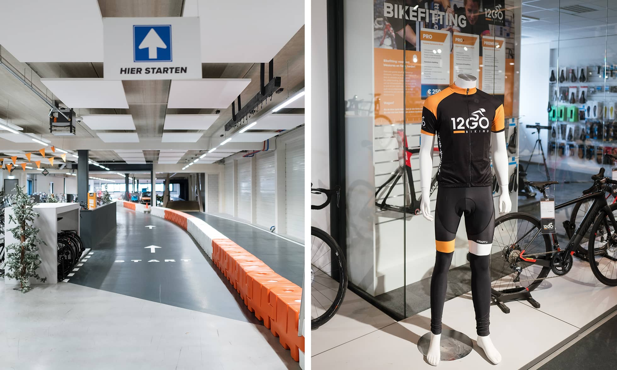 Left: start of test track in 12GO Biking shop Right: mannequin in black cycling outfit with 12GO Biking logo