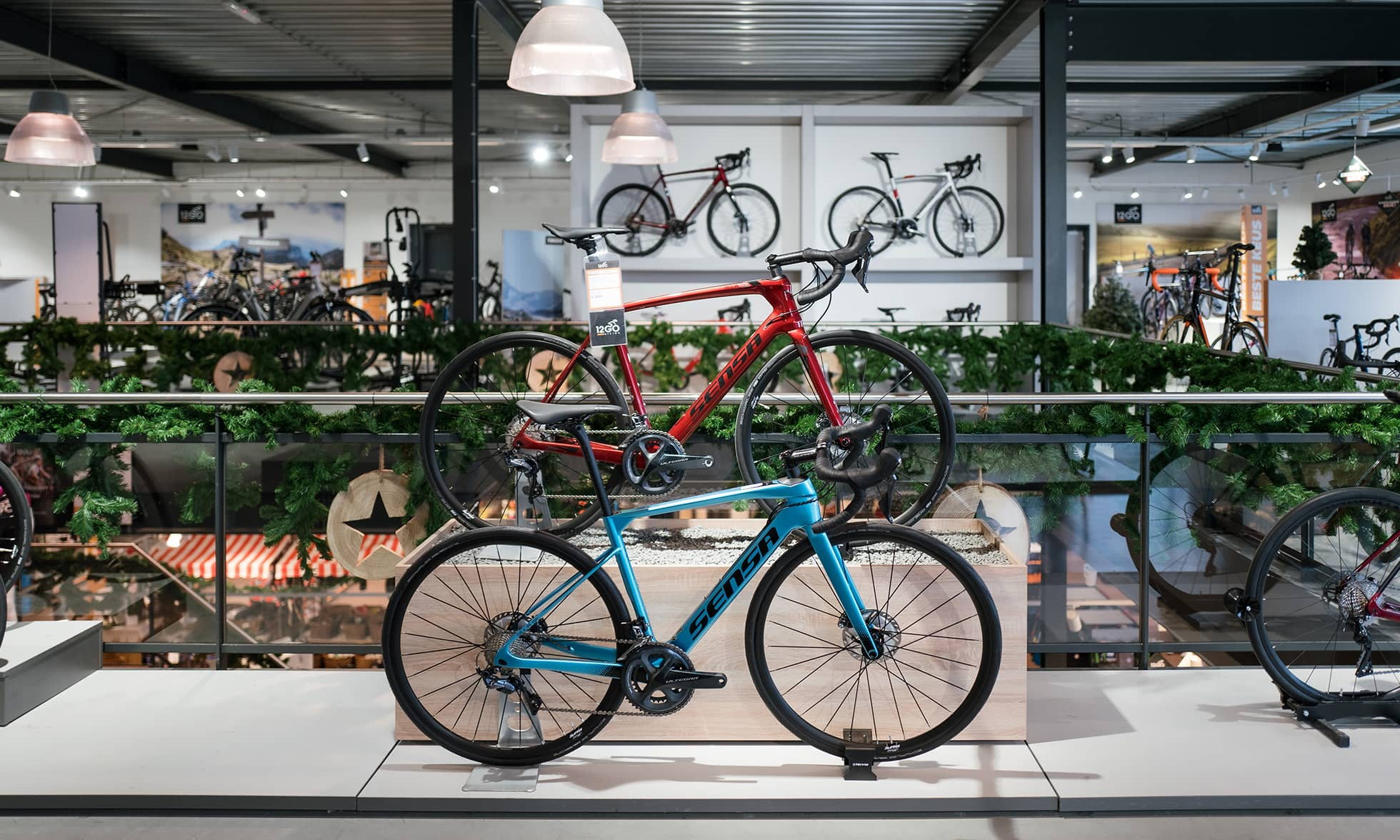 Blue and red racing bikes in the 12GO Biking showroom