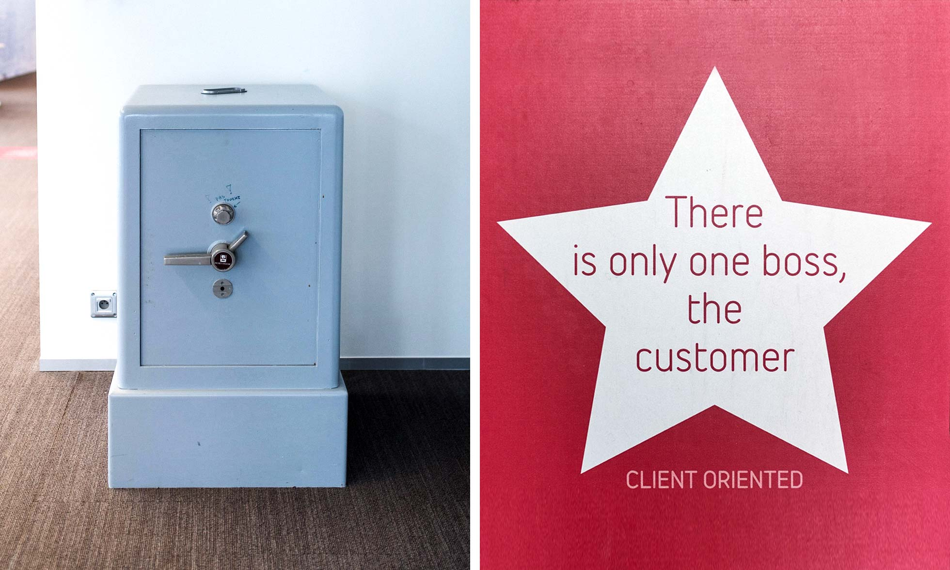 An old fashioned safe and a star with a quote