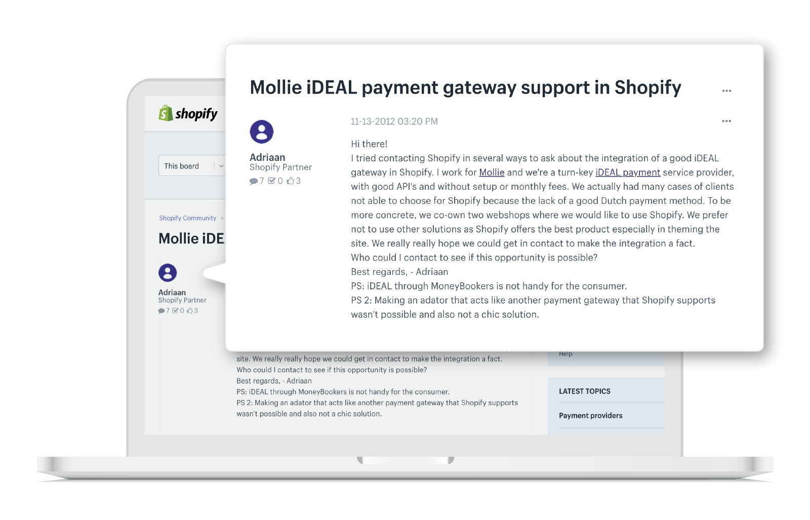 Mollie founder Adriaan Mol asks Shopify for iDEAL integration
