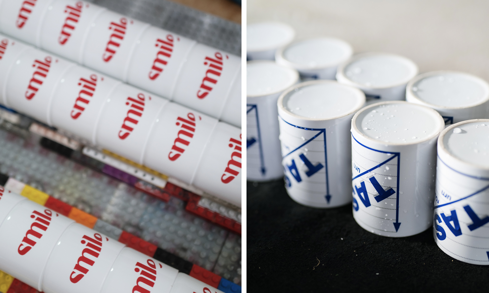 Left: Promotional material printed with a logo Right: Mugs with printed logo