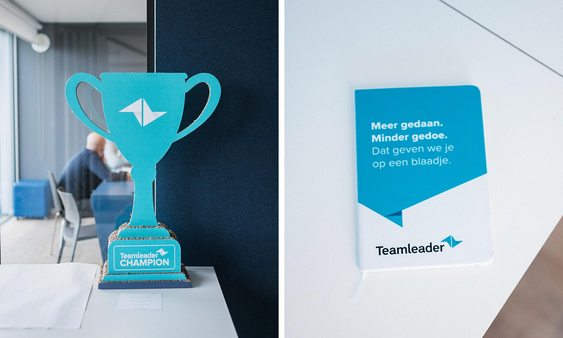 A cardboard trophy and booklet from Teamleader