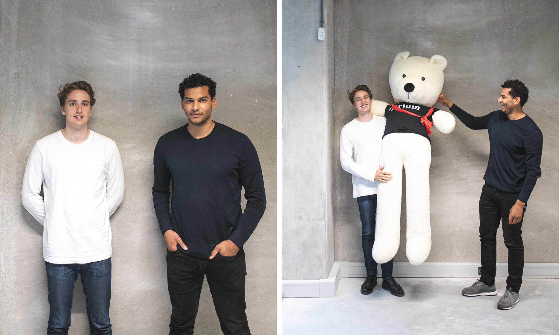 Otrium founders Max and Milan with a giant teddy bear