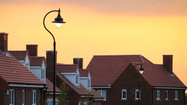 Houses under sunset