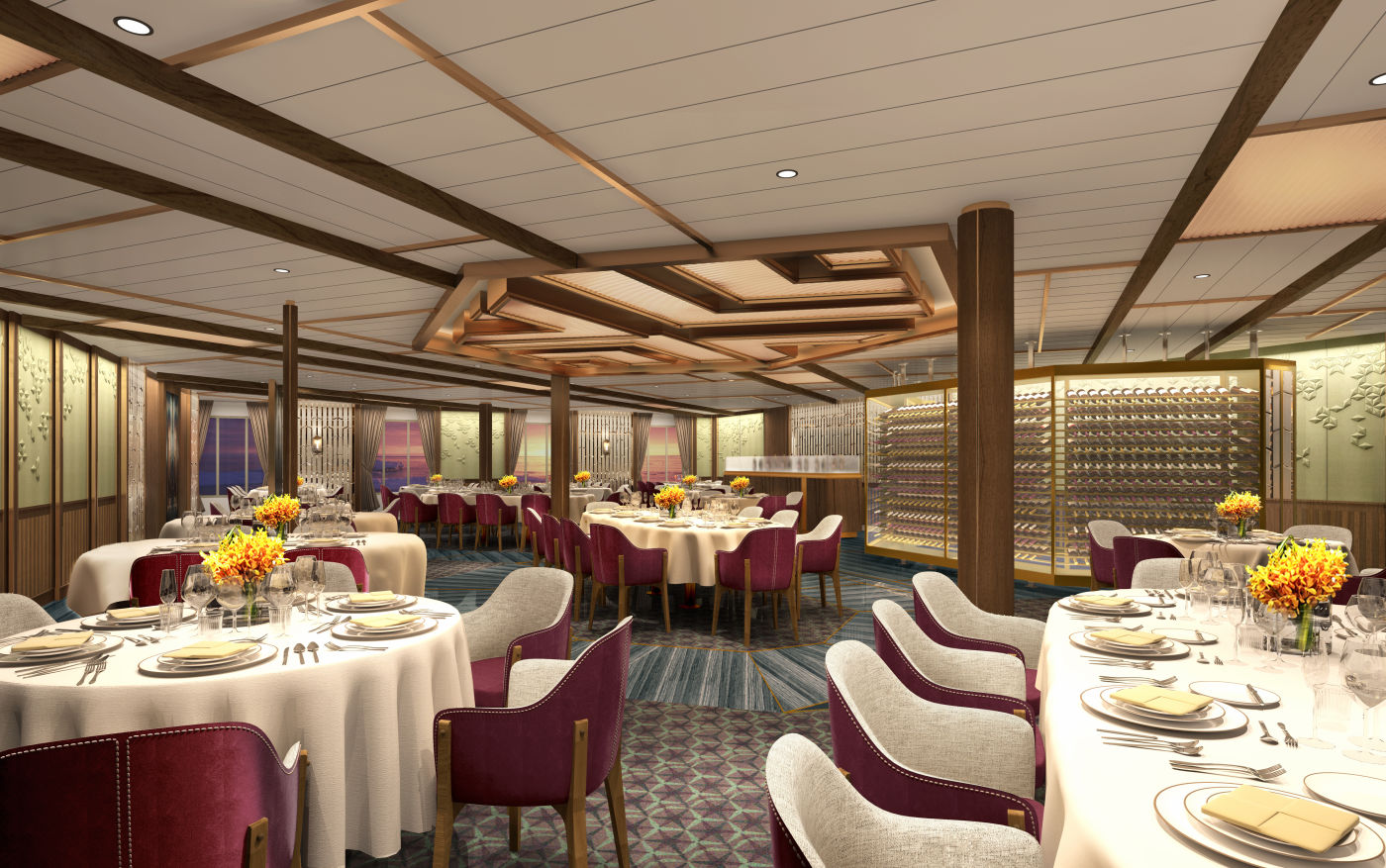Seabourn expedition ships -The Restaurant rendering