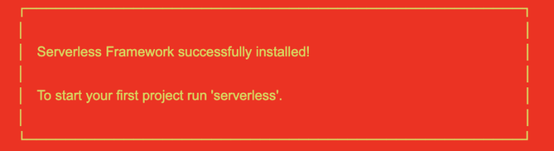 Serverless succressfully installed