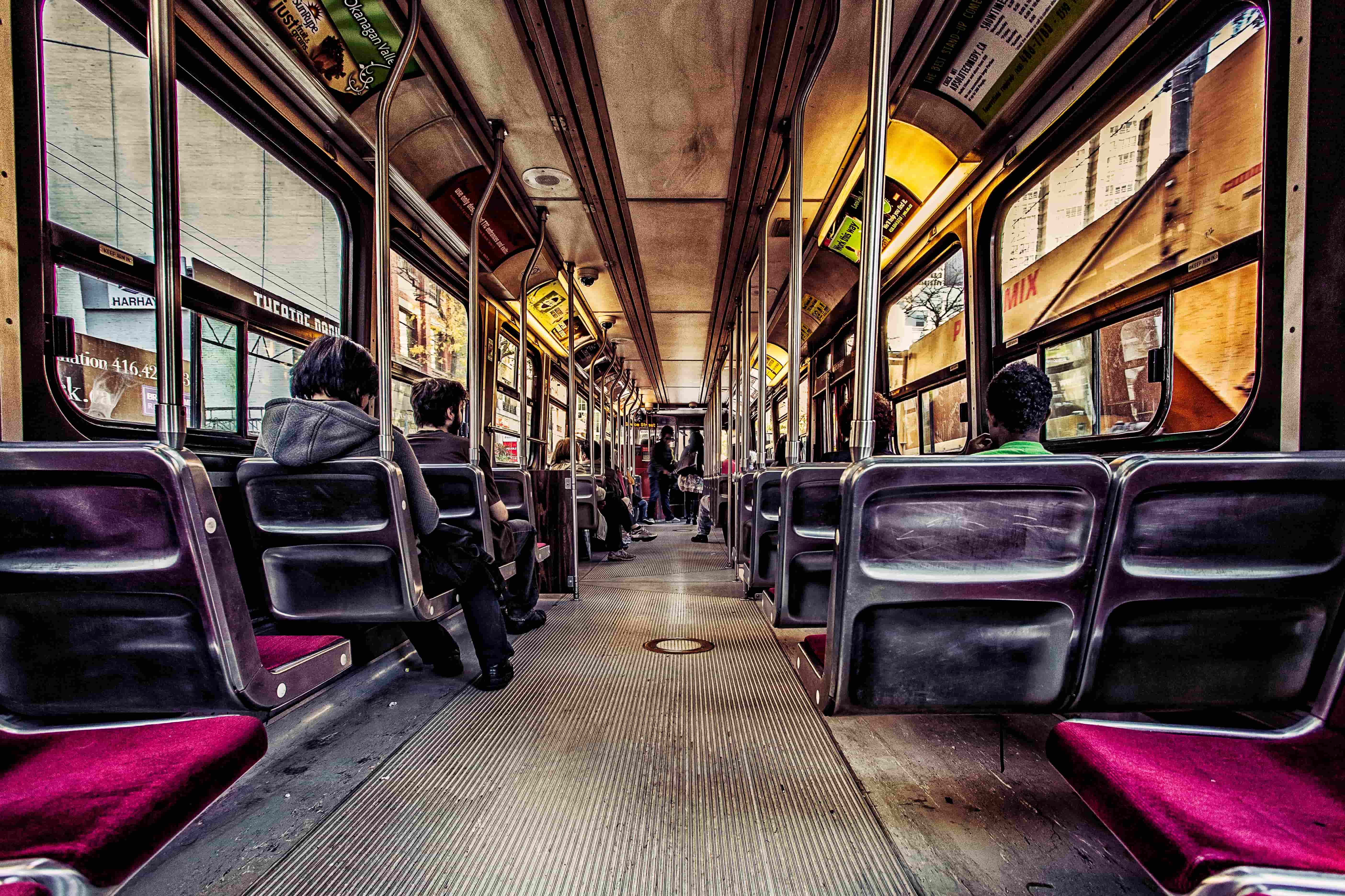 Image of seats inside a streetcar