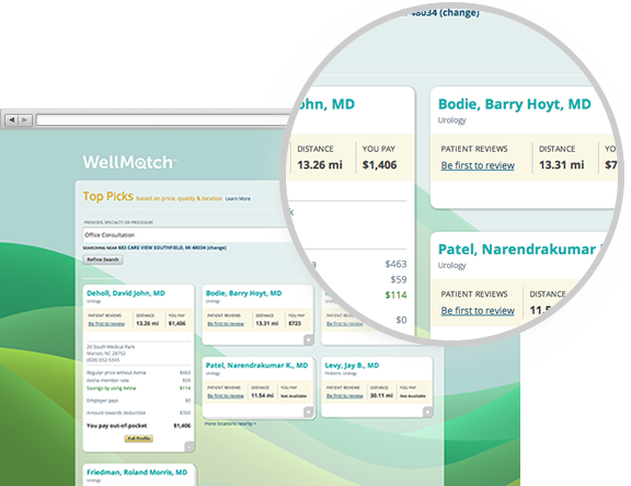 WellMatch provider search results being compared