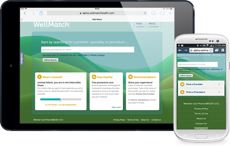 WellMatch web application open in a tablet and in a smartphone
