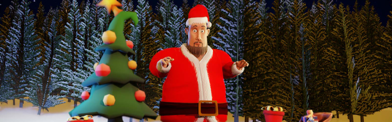 Eden's director Craig 3D modelled in a Father Christmas outfit next to a 3D Christmas tree in a 3D world
