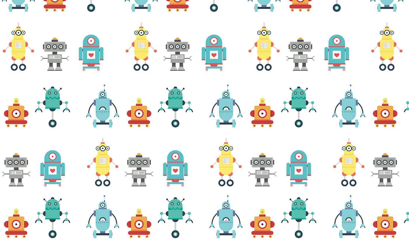 Various graphic designs of chatbot robots on a white background