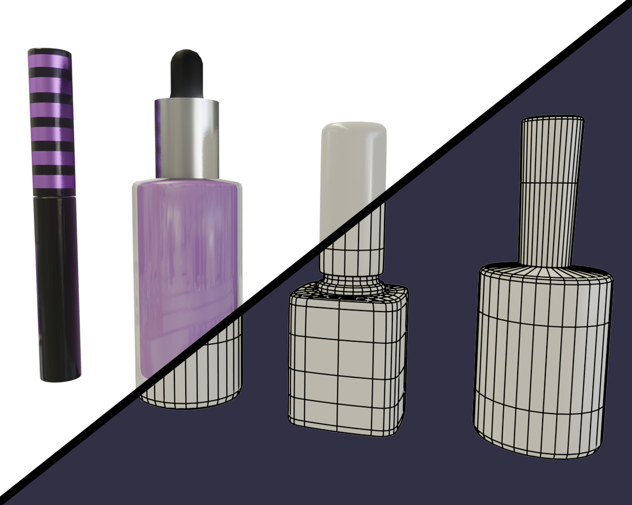 3d animated makeup bottles split down the screen showing textured version and wireframe version