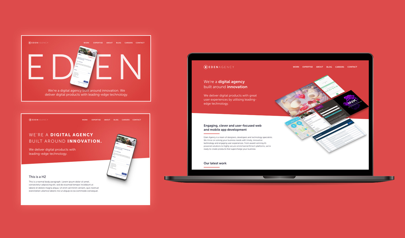 On the right, there is a laptop mocked-up with the new Eden Agency website design and next to it are 2 alternative design iterations that Eden did not use.