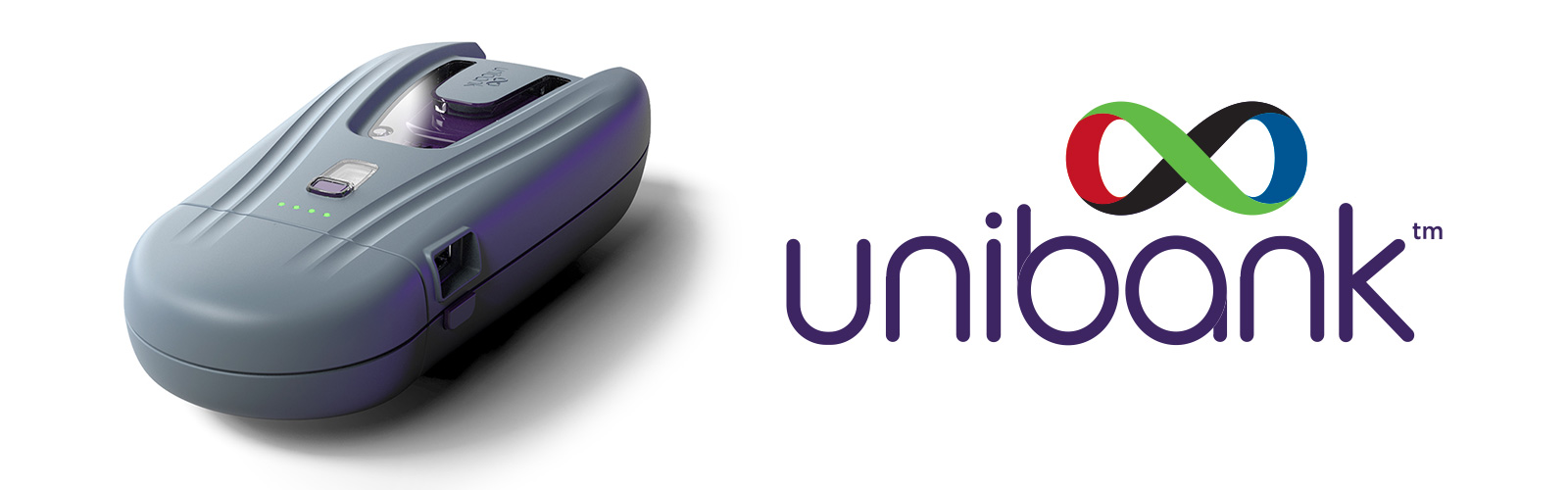 The Unibank power bank next to the Unibank logo