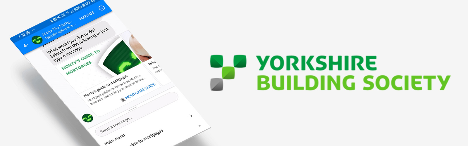 A screengrab of the Yorkshire Building Society (YBS) Mortgage chatbot next to the YBS logo