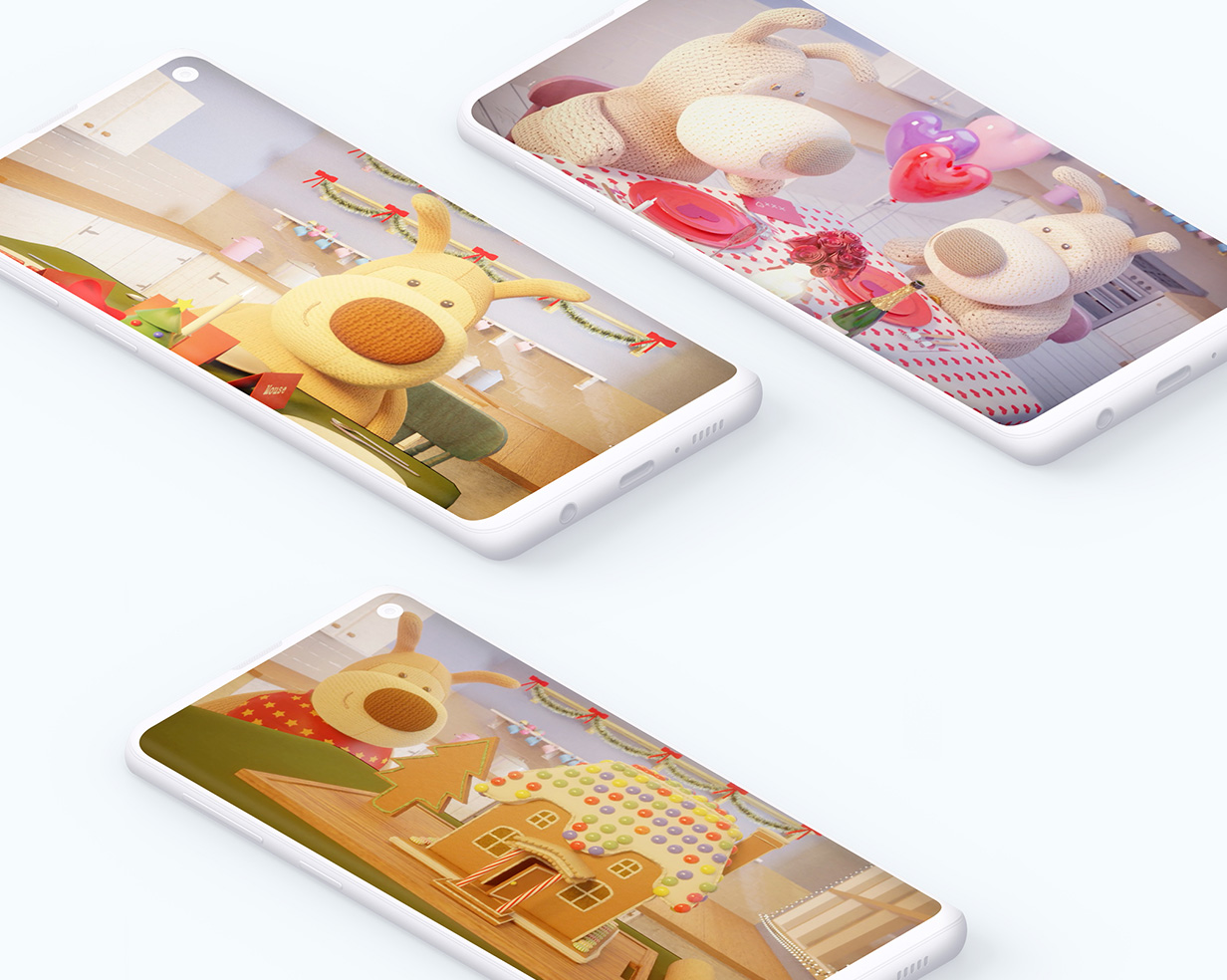 3 mobile devices showing 3 different Boofle 3D animations