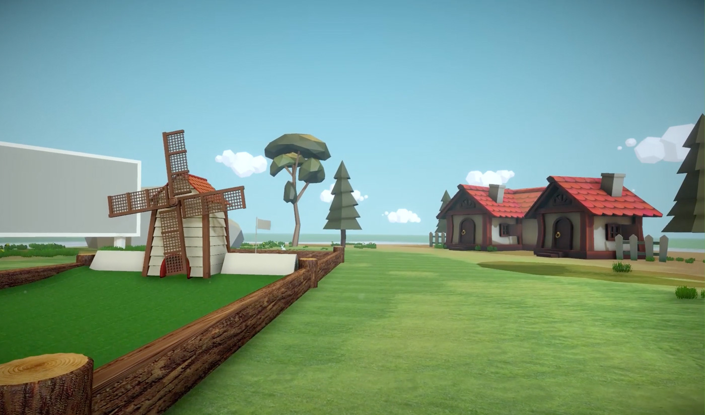 The 3D virtual reality (VR) world of the TeeUp golf game designed and developed by Eden Agency