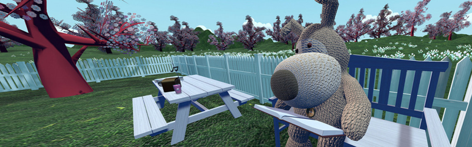 Boofle in his 3D world sat on a bench reading a book