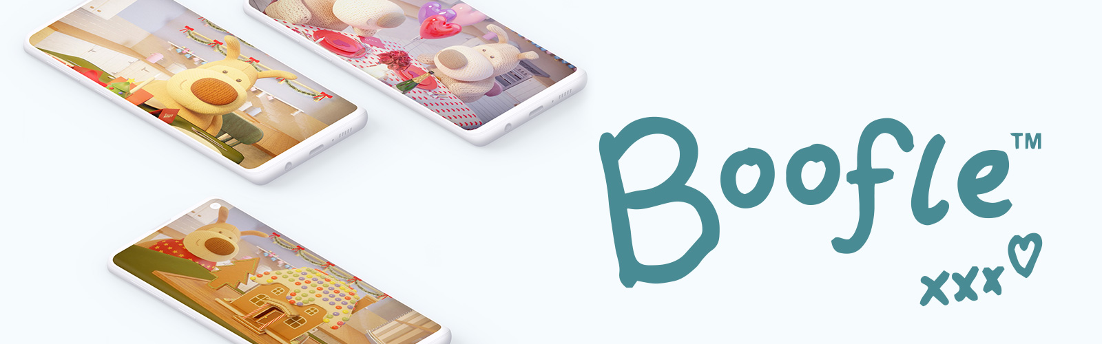 3 mobile devices showing 3 different Boofle 3D animations next to the Boofle logo