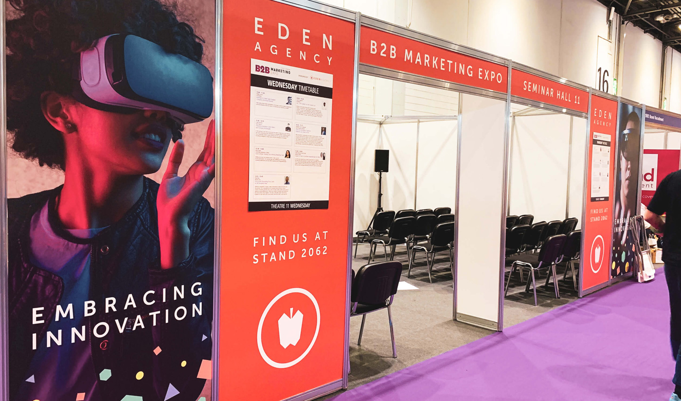 Eden Agency's sponsored seminar hall at B2B Marketing Expo 2019, with Embracing Innovation at the forefront