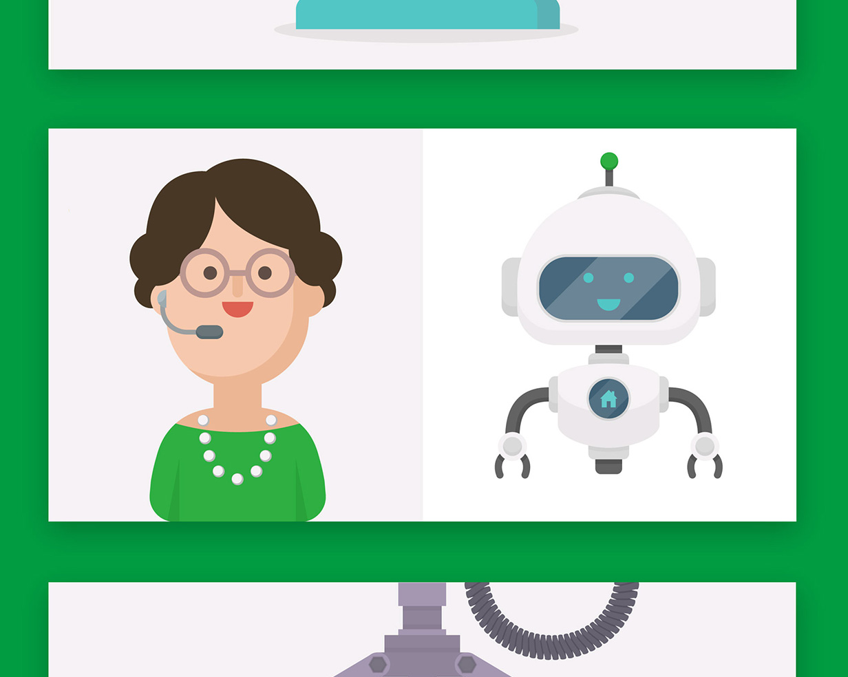 A screen from the Yorkshire Building Society chatbot, one side there is a cartoon woman and on the other side there is a robot