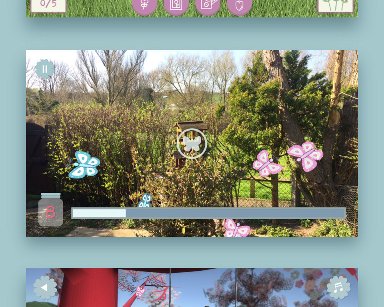 The butterfly AR game from the Boofle mobile app