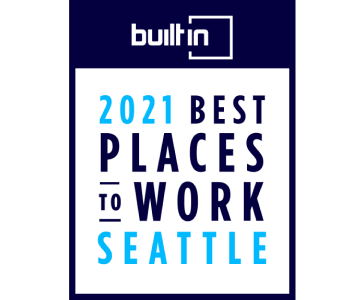BuiltIn 2021 Best Places to Work Seattle Badge