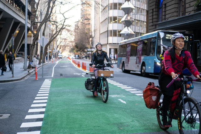 The Pitt Street pop-up cycleway has seen a 500% increase in rider numbers since opening.
