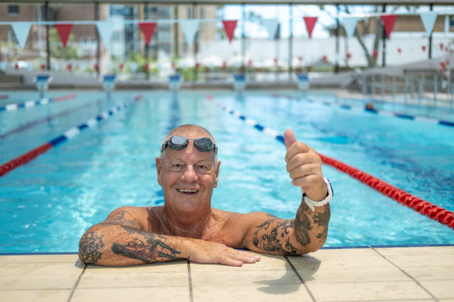 Local resident Keith gives the 25-metre indoor pool a tick of approval