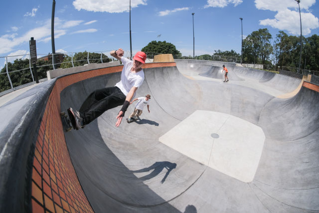 The largest public flow bowl in Sydney is the star of the new skate park.