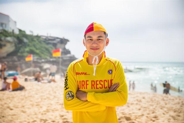 Lifesaver William Chan on the sand at Tamarama Beach