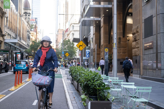 Sarah Imm uses the Pitt Street cycleway on her commute to Martin Place.