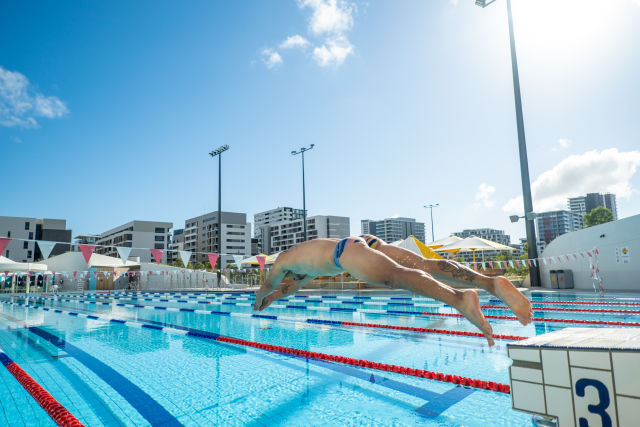 The glistening 50-metre outdoor pool