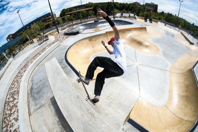 The plaza zone features rails, vert walls, quarter pipes, banks and more.