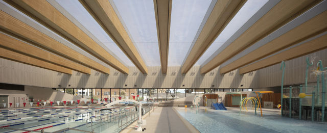 25 meter heated swimming pool.  Credit: Andrew Burges Architects / Brett Boardman
