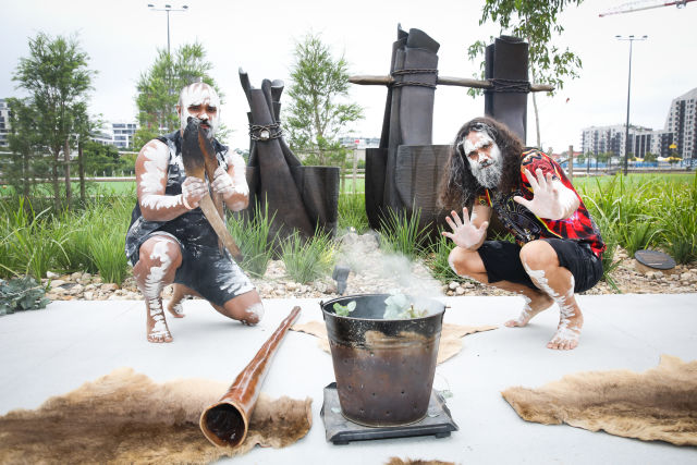 Smoking ceremony for the opening of the center.  Credit: Renee Nowytarger / City of Sydney.