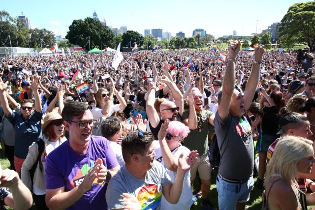 Crowds gather at Prince Alfred Park for marriage equality vote in 2017. Credit: Damian Shaw/City of Sydney